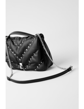 Quilted Crossbody Bag With Studs  View All Bags Woman by Zara
