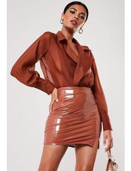 Mocha Vinyl Mini Skirt by Missguided