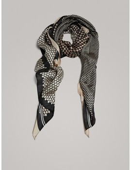 Diamond Print 100% Silk Scarf by Massimo Dutti