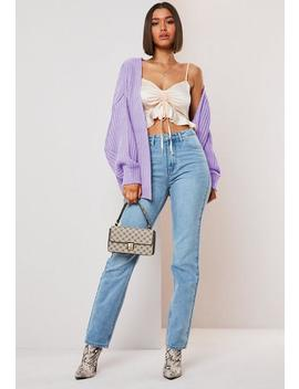 Lilac Batwing Cropped Oversized Chunky Rib Cardigan by Missguided