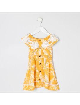 Mini Girls Yellow Palm Print Bardot Dress by River Island