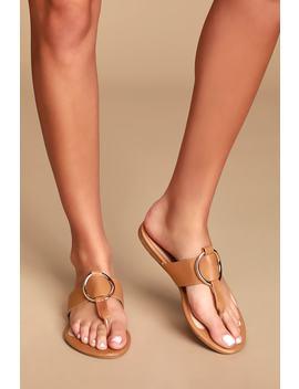 Solene Tan Flat Thong Sandals by Lulu's