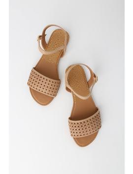 Amira Tan Burnish Woven Flat Sandals by Lulu's