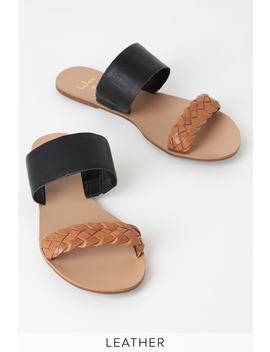 Caylee Cognac And Black Nappa Leather Slide Sandals by Lulus