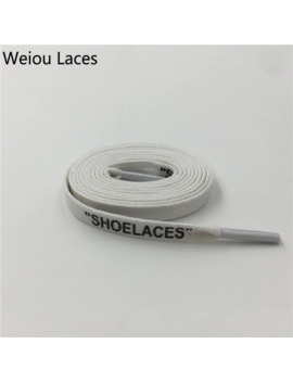 """Weiou Heavy Duty Waxed Cotton Flat Shoe Laces With Handmade Printing """"Shoelaces"""" Off White Inspired Replacement Shoestring 0.8cm by Ali Express.Com"""