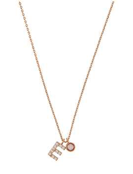 Rose Gold Plated Sparkle E Initial Necklace by Accessorize