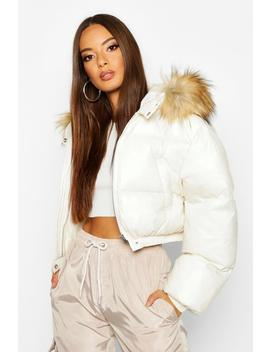 Cire Crop Faux Fur Hood Puffer Jacket by Boohoo