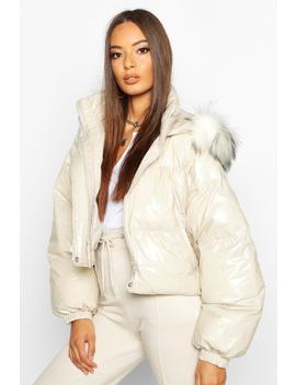 Crop Vinyl Faux Fur Trim Puffer Jacket by Boohoo