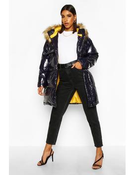 Vinyl Longline Faux Fur Trim Puffer Jacket by Boohoo