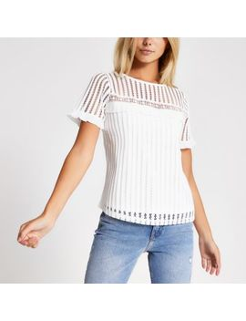 White Broiderie Lace Short Sleeve T Shirt by River Island