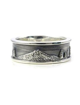 Mt. Hood Men's Sterling Silver Ring   Forest Mountain Wedding Ring by Etsy