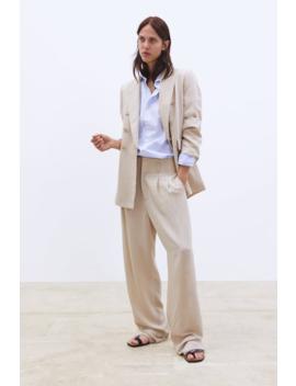 מכנס עם רגל רחבה וקפלים by Zara