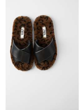 Fuzzy Animal Print Flat Sandals View All Shoes Woman by Zara