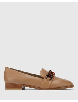 Haleida Taupe Leather Square Toe Trim Loafer by Wittner