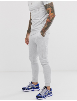 Asos Design Co Ord Skinny Joggers With Ma1 Pocket In White Marl by Asos Design