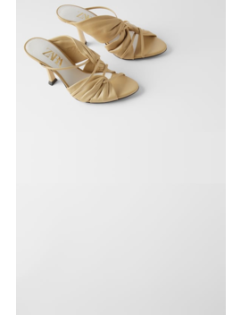 Leather High Heel Sandals With Gathering Shoeswoman Shoes & Bags by Zara