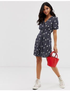 Wednesday's Girl Button Through Mini Dress In Spot Print by Wednesday's Girl
