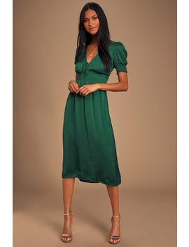 Lille Emerald Green Satin Smocked Short Sleeve Midi Dress by Lulus