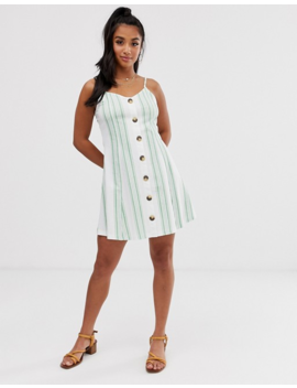 Asos Design Petite Exclusive Mini Cami Swing Dress With Faux Wood Buttons In Green Stripe by Asos Design