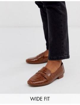 Asos Design Wide Fit Membership Loafer Flat Shoes In Tan Croc by Asos Design