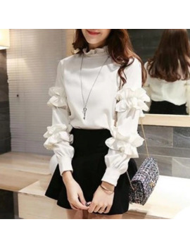 Zh 2019 Chiffon Blouses Women Stand Petal Full Sleeve Trim Solid Color Casual Fashion Sweet Top Shirts by Ali Express.Com