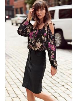 Black Floral Print Cold Shoulder Top by Next