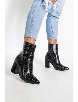 Wide Fit Croc Block Heel Sock Boots by Boohoo