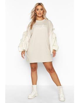 Plus Ye Saint Oversized Slogan T Shirt Dress by Boohoo