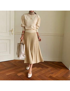 Naning9   Knit Long Accordion Pleat Skirt by Naning9