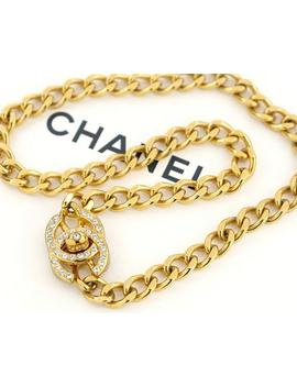 Chanel Cc Turnlock Chain Necklace Rhinestone Gold Tone Vintage V1812 100% Authentic by Etsy
