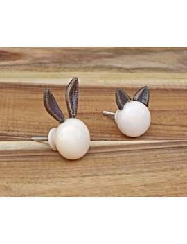 White Rabbit And Cat Cabinet Drawer Knob, Drawer Pull Rabbit Animal, Woodland Animal Cupboard Door Knob by Etsy