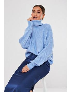 Blue Premium Boyfriend Roll Neck Jumper by Missguided