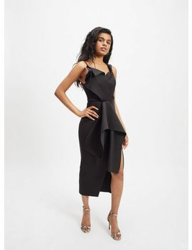 Petite Black One Shoulder Bardot Midi Dress by Miss Selfridge