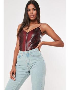 Burgundy Snake Cami Zip Up Bodysuit by Missguided