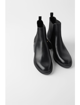 Flat Ankle Boots With Heel Detail Back To Office Shoes Woman by Zara