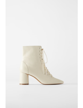 Lace Up Leather Ankle Boots Back To Office Shoes Woman by Zara