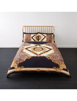 Navy Leopard Baroque King Duvet Bed Set by River Island