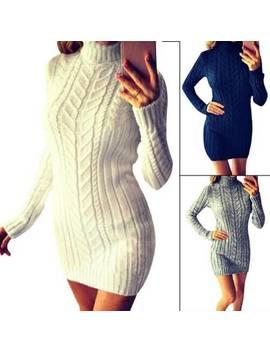 Womens Knitted Sweater Jumper Bodycon Mini Dress Ladies Winter Long Sleeve Tops by Ebay Seller