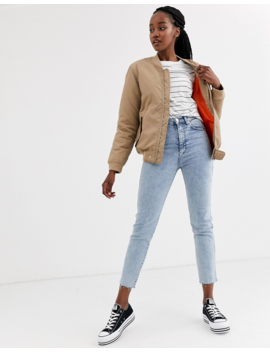 Another Reason Boyfriend Style Bomber Jacket With Contrast Lining by Another Reason