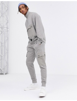 Asos Design Two Piece Sweatpants With Utility Cargo Pockets In Gray by Asos Design