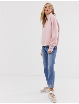 Pull&Bear Jersey Half Zip Sweat In Pink by Pull&Bear
