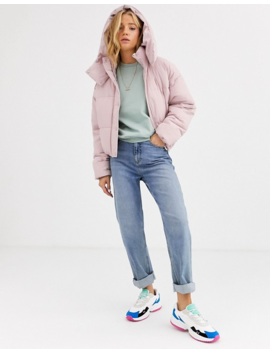 Pull&Bear Hooded Puffer Jacket In Pink by Pull&Bear