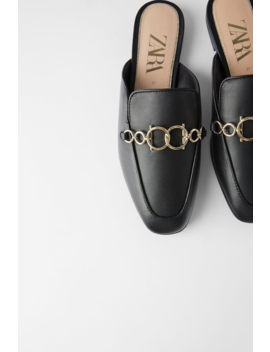 Leather Loafer Mules With Chain  Flats Shoes Woman by Zara