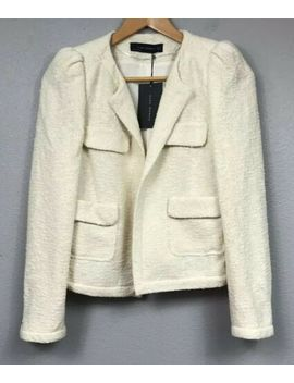 New $129 Zara Ivory White Tweed Textured Blazer Jacket Puff Shoulder Coat M by Zara