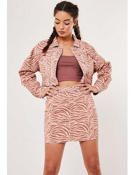 Blush Co Ord Zebra Print A Line Denim Mini Skirt by Missguided