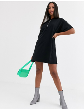 Misguided Oversized T Shirt Dress With Zip Neck In Black by Missguided's