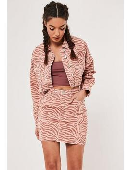 Blush Co Ord Zebra Print Cropped Denim Jacket by Missguided