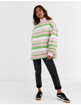 Daisy Street Oversized Half Zip Sweatshirt In Retro Stripe by Daisy Street