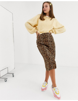 Daisy Street Button Front Midi Skirt In Leopard Print by Daisy Street