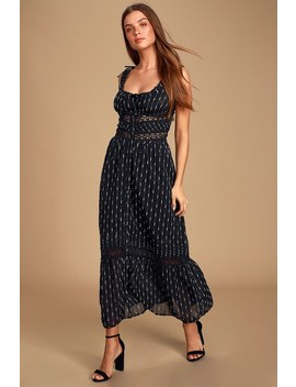 Dreamcatcher Black Multi Crochet Lace Midi Dress by Lulu's